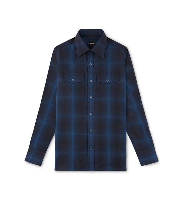 BLUE CHECK MILITARY SHIRT A fullsize
