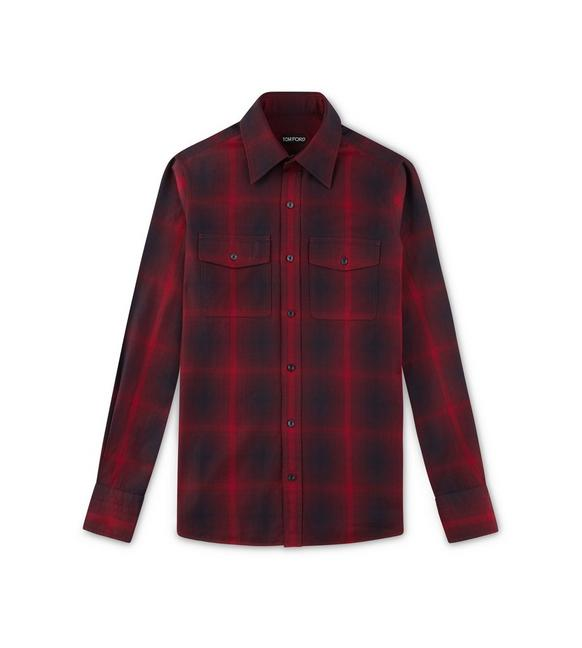 RED CHECK MILITARY SHIRT A fullsize