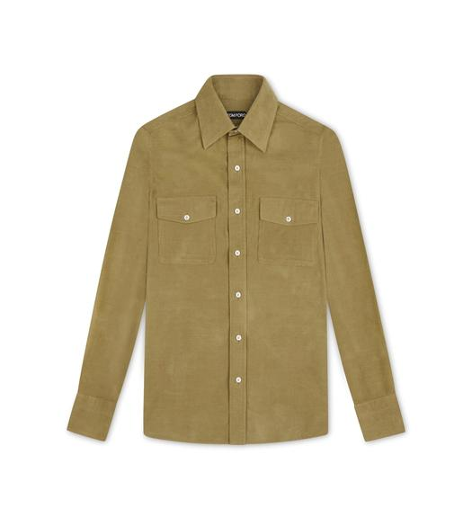CAMEL CORDUROY MILITARY SHIRT