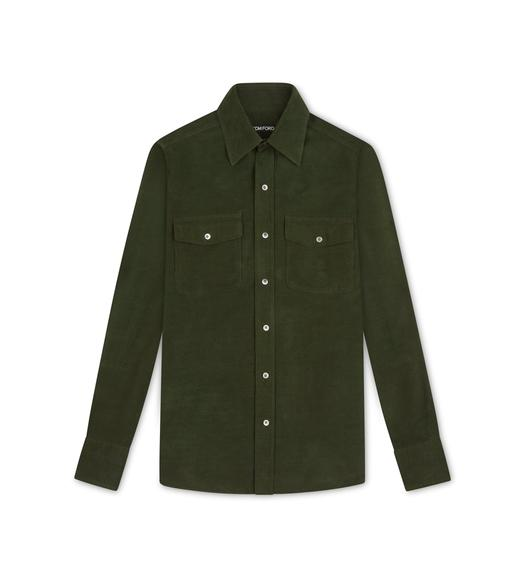 DARK GREEN CORDUROY MILITARY SHIRT