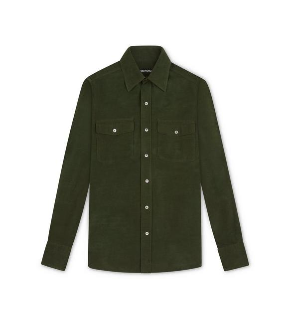 DARK GREEN CORDUROY MILITARY SHIRT A fullsize