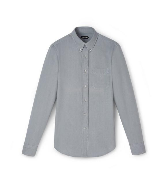 GREY DENIM BUTTON DOWN SHIRT A fullsize