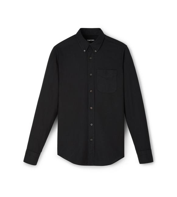 COTTON CASHMERE WASHED TWILL POINT COLLAR BUTTON DOWN SHIRT A fullsize
