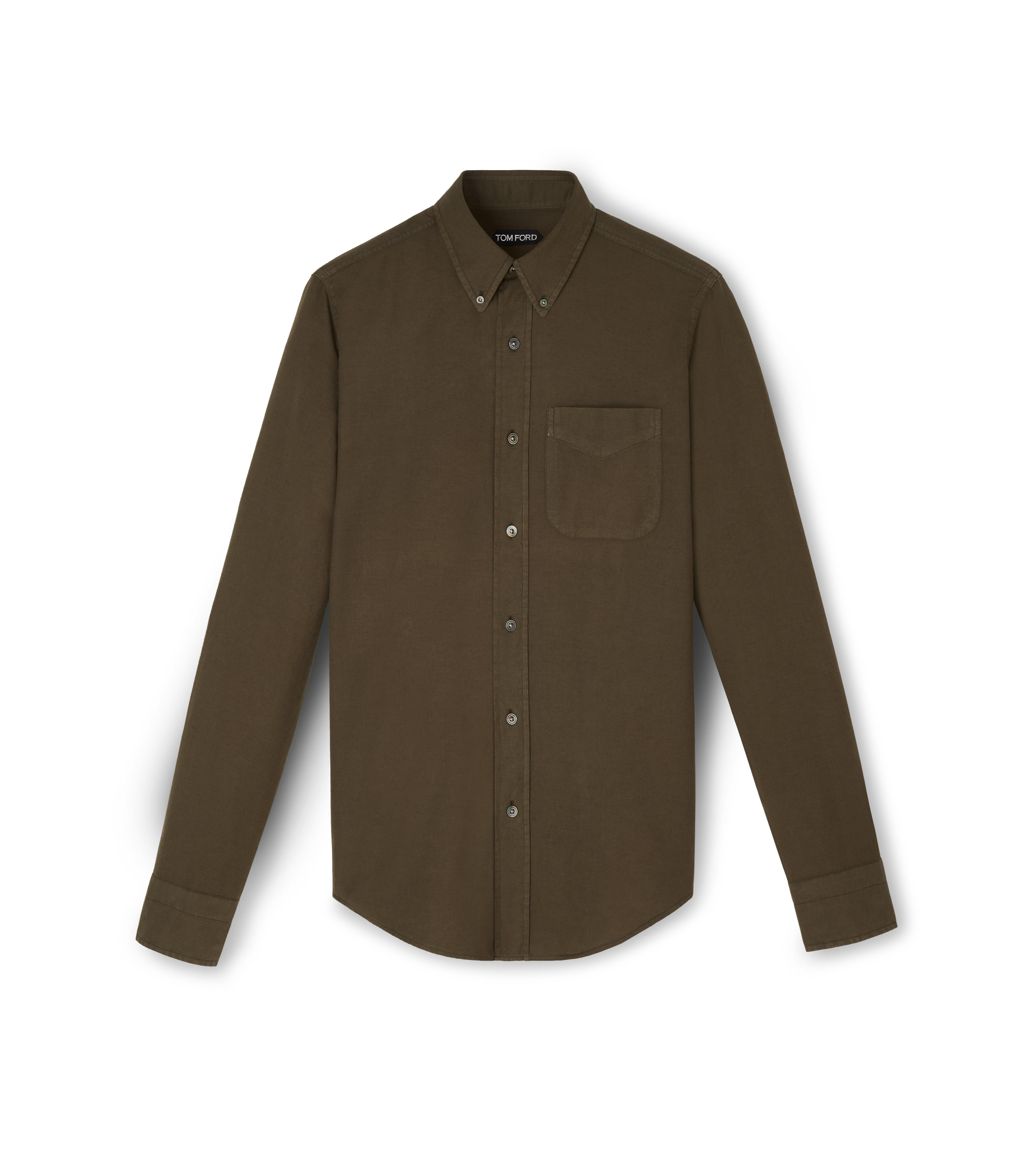 COTTON CASHMERE WASHED TWILL POINT COLLAR BUTTON DOWN SHIRT A thumbnail