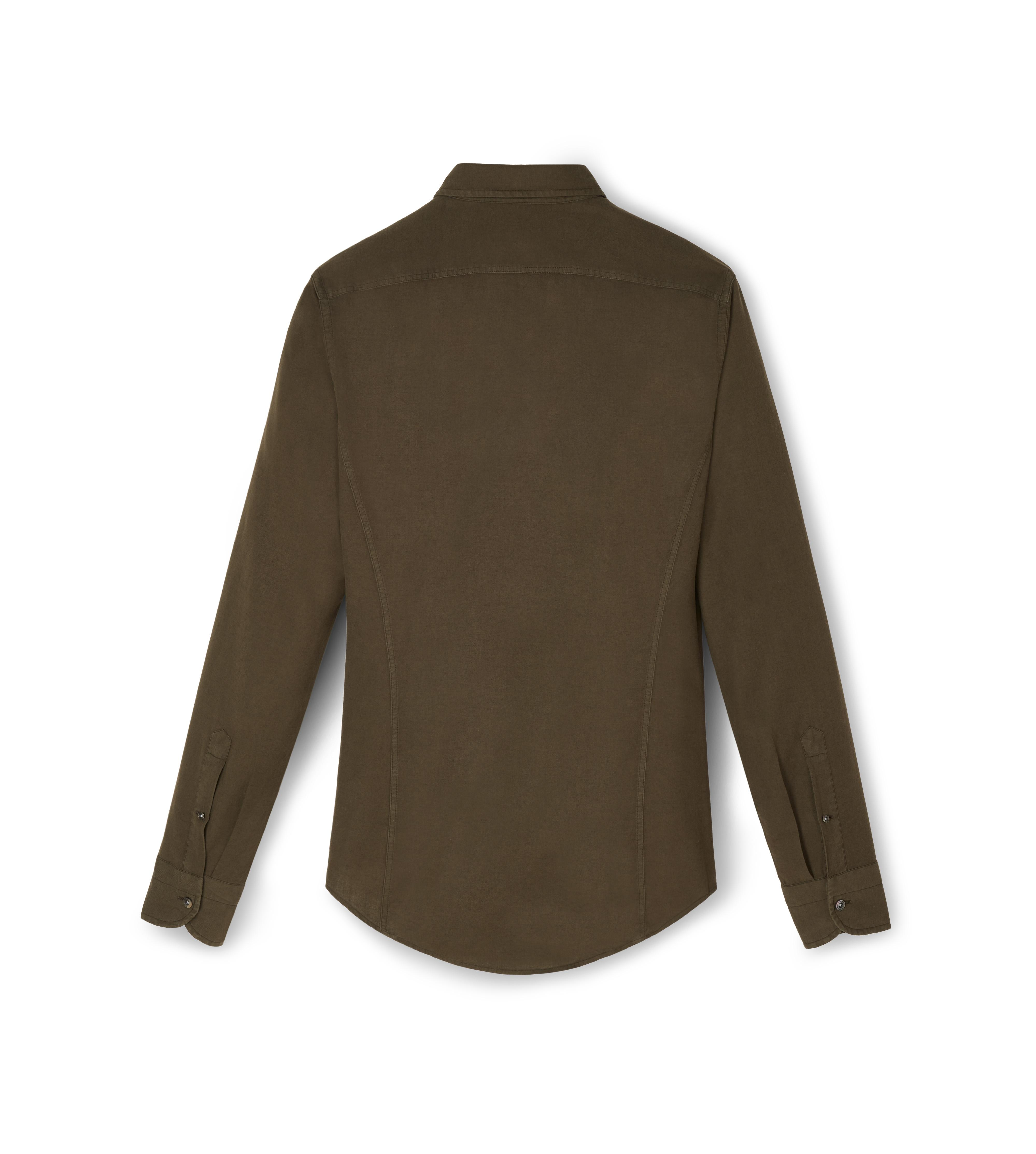 COTTON CASHMERE WASHED TWILL POINT COLLAR BUTTON DOWN SHIRT B thumbnail