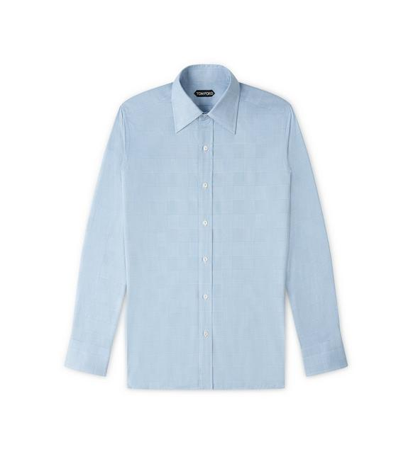 BLUE PRINCE OF WALES SLIM FIT SHIRT A fullsize