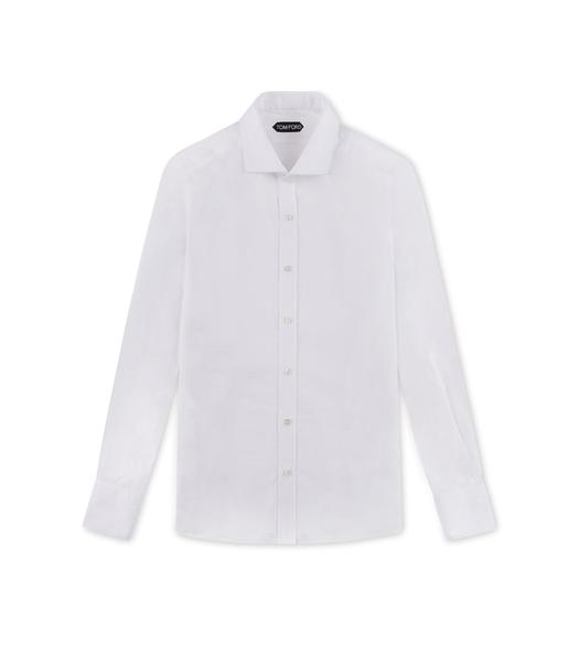 WHITE SLIM FIT BARREL CUFF SHIRT