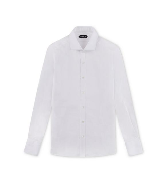 WHITE SLIM FIT BARREL CUFF SHIRT A fullsize