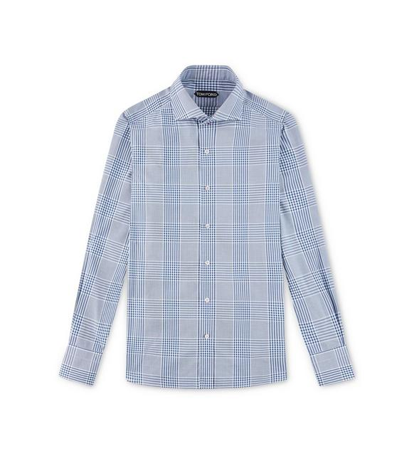 NAVY PRINCE OF WALES SLIM FIT SHIRT A fullsize