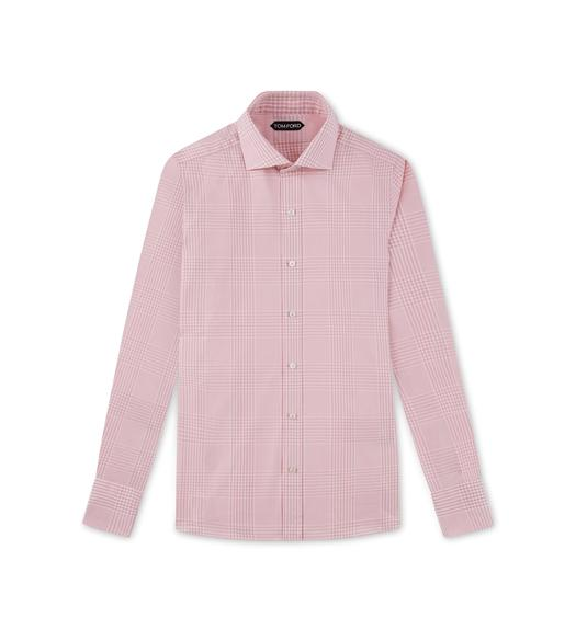 PINK PRINCE OF WALES SLIM FIT SHIRT