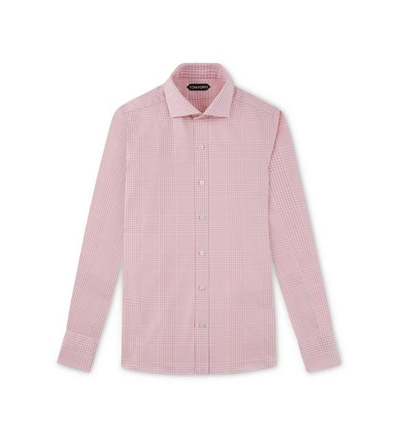 PINK PRINCE OF WALES SLIM FIT SHIRT A fullsize