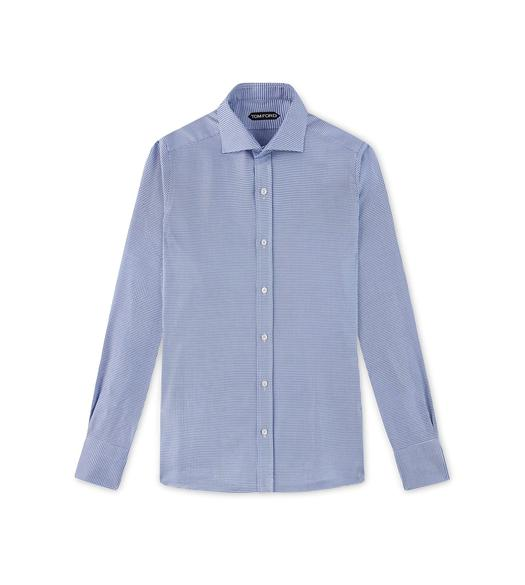 BLUE HOUNDSTOOTH SLIM FIT SHIRT