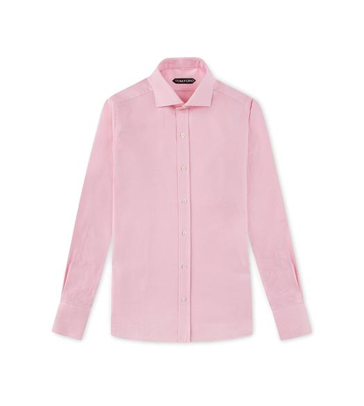 PINK HOUNDSTOOTH SLIM FIT SHIRT