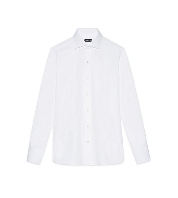 POPLIN SLIM FIT BARREL CUFF SHIRT A fullsize