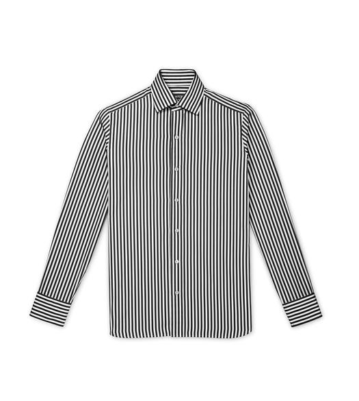 BLACK SUMMER STRIPE SLIM FIT SHIRT
