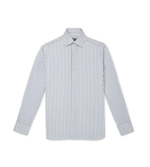 GREY SUMMER STRIPE SLIM FIT SHIRT