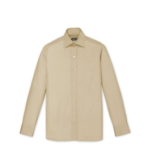 BIEGE POPLIN SLIM FIT SHIRT