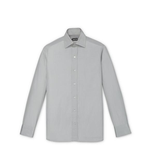 GREY POPLIN SLIM FIT SHIRT A fullsize