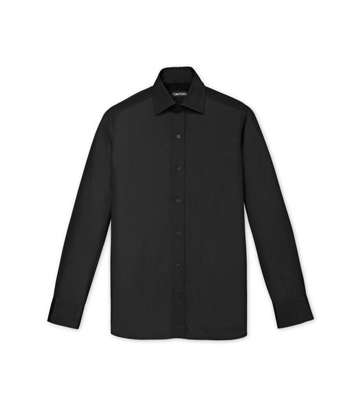 BLACK POPLIN SLIM FIT SHIRT