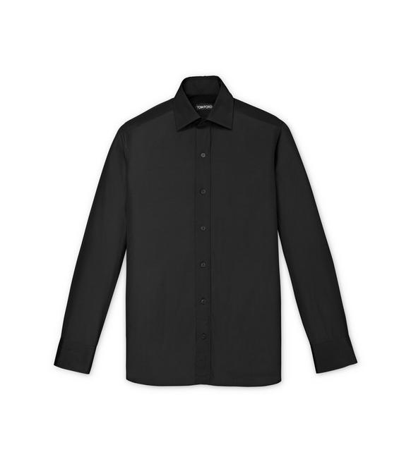 BLACK POPLIN SLIM FIT SHIRT A fullsize
