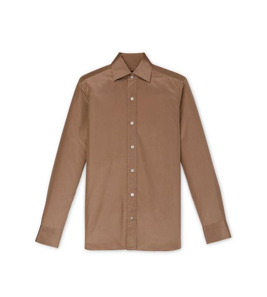 BROWN POPLIN SLIM FIT SHIRT
