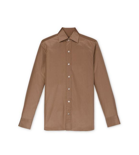 BROWN POPLIN SLIM FIT SHIRT A fullsize