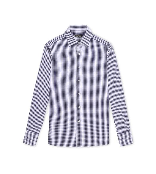 NAVY GINGHAM SLIM FIT SHIRT