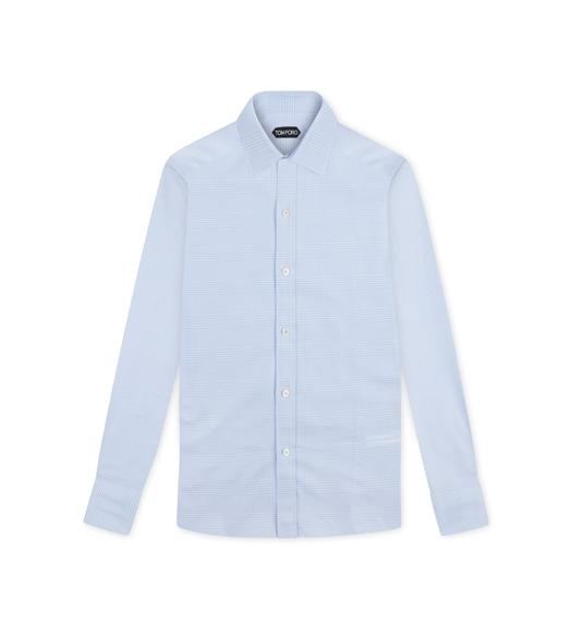 SKY BLUE PRINCE OF WALES SLIM FIT SHIRT