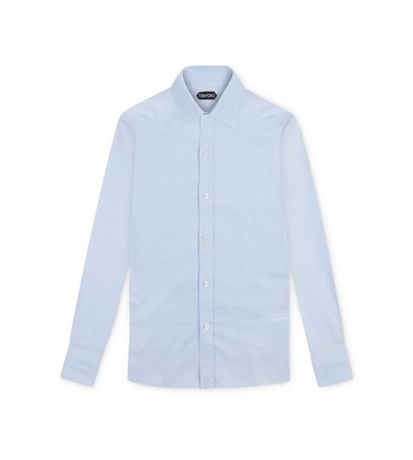 SKY BLUE PRINCE OF WALES SLIM FIT SHIRT A fullsize