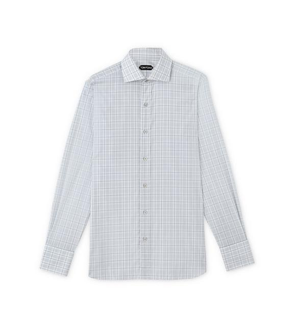 SUBTLE DARK OVERCHECK SPREAD COLLAR DAY SHIRT A fullsize