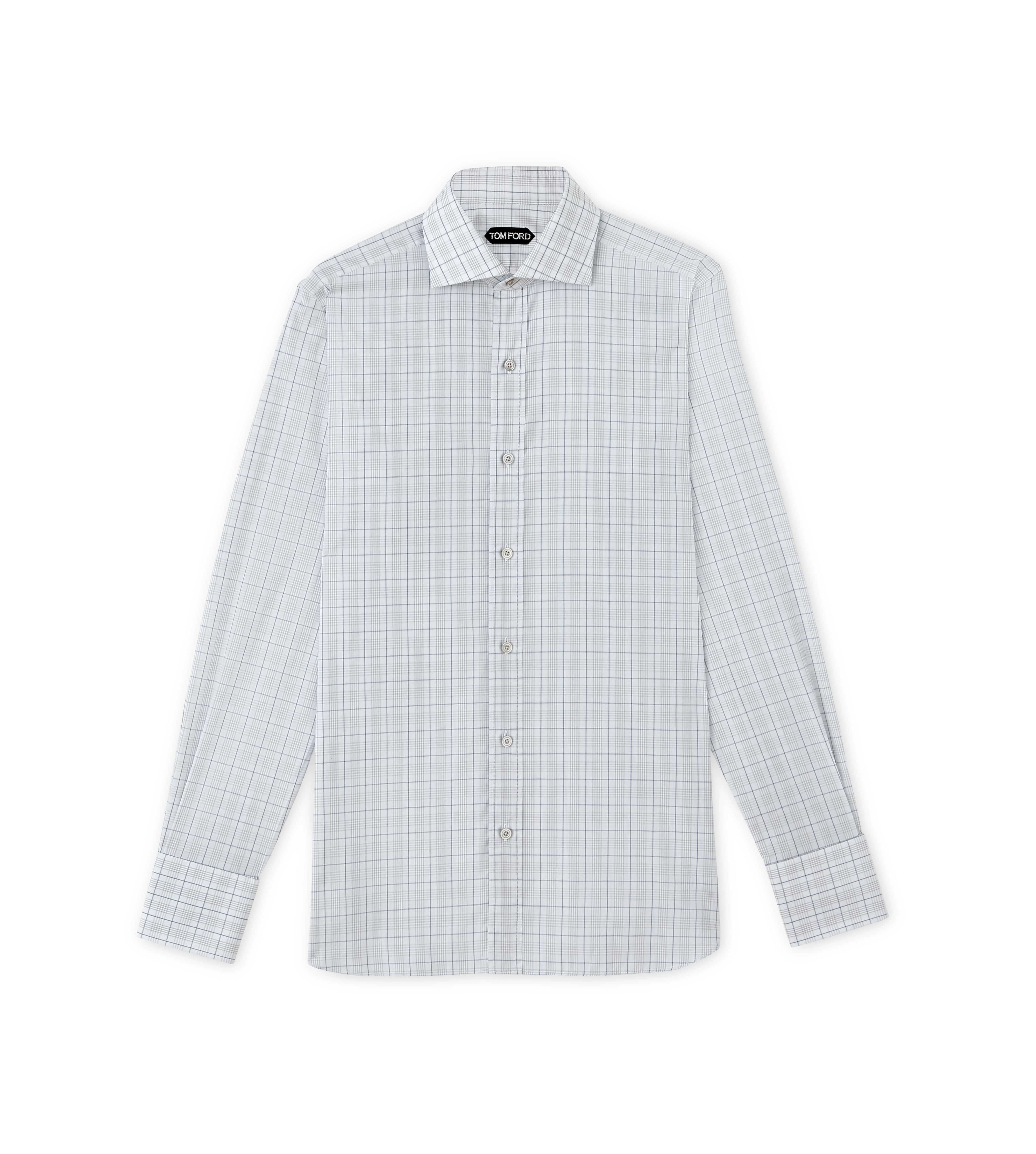 SUBTLE DARK OVERCHECK SPREAD COLLAR DAY SHIRT A thumbnail