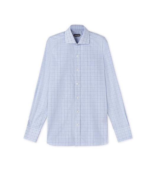 SUBTLE DARK OVERCHECK SPREAD COLLAR DAY SHIRT
