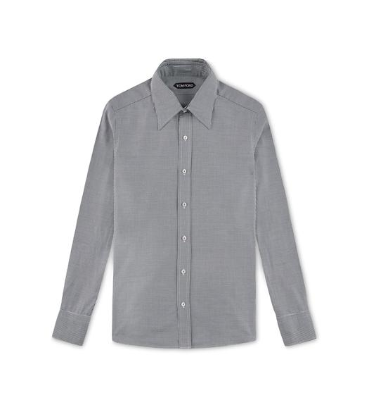 BLACK HOPSACK SLIM FIT SHIRT