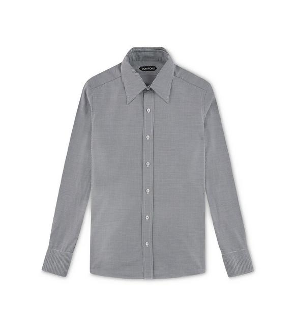 BLACK HOPSACK SLIM FIT SHIRT A fullsize