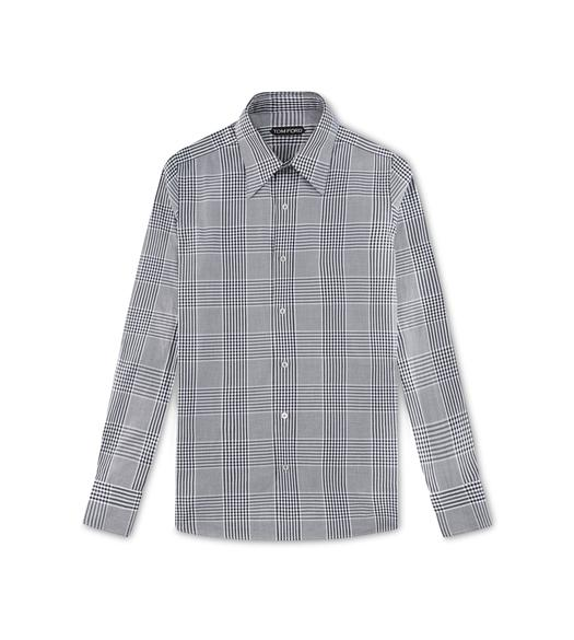 GREY PRINCE OF WALES SLIM FIT SHIRT