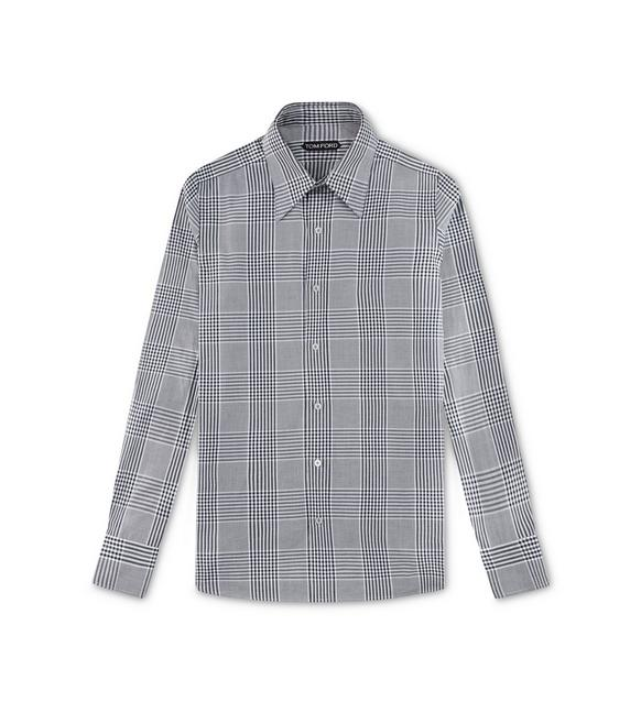 GREY PRINCE OF WALES SLIM FIT SHIRT A fullsize