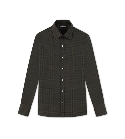 OLIVE PRINCE OF WALES SLIM FIT SHIRT