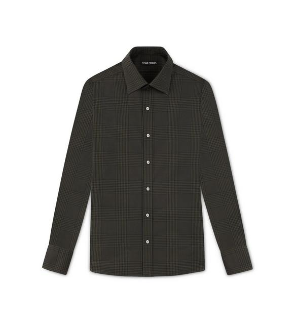 OLIVE PRINCE OF WALES SLIM FIT SHIRT A fullsize