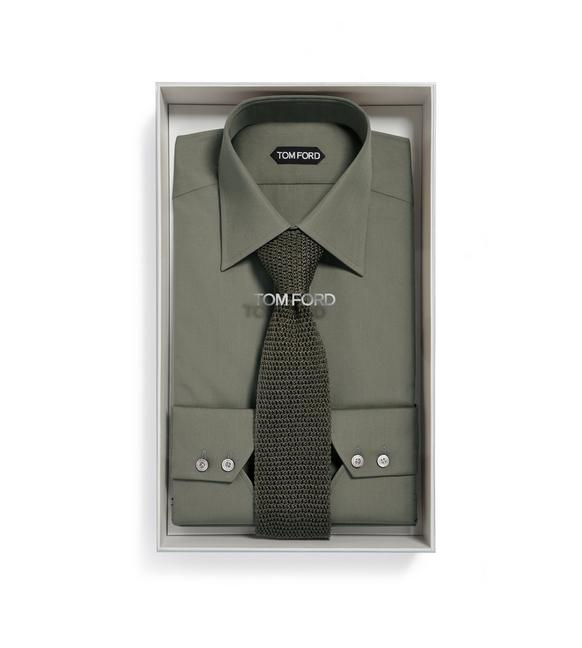 MILITARY GREEN SHIRT + KNIT TIE BOX SET A fullsize