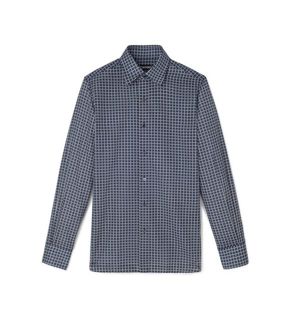 NAVY STYLISED DOGTOOTH PRINT SMALL CLASSIC COLLAR PRINTED SHIRT A fullsize