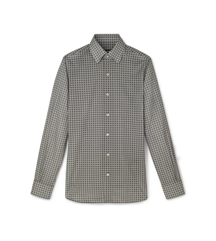 GREY STYLISED DOGTOOTH PRINT SMALL CLASSIC COLLAR PRINTED SHIRT A fullsize