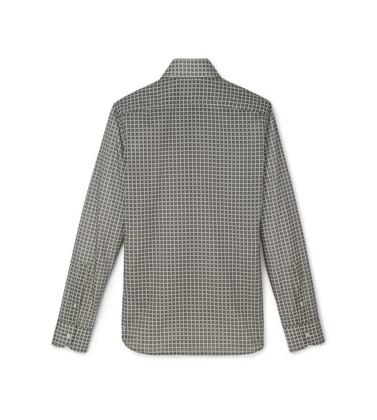 GREY STYLISED DOGTOOTH PRINT SMALL CLASSIC COLLAR PRINTED SHIRT B fullsize