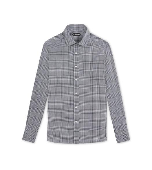LIGHT GREY OPTICAL CHECK SLIM FIT SHIRT