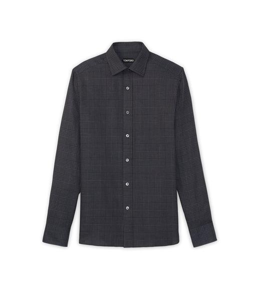 DARK GREY OPTICAL CHECK SLIM FIT SHIRT