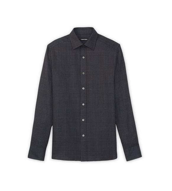 DARK GREY OPTICAL CHECK SLIM FIT SHIRT A fullsize