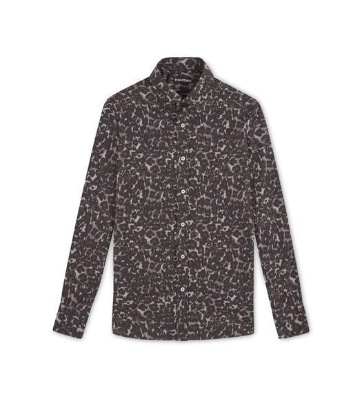 GREY LEOPARD SLIM FIT SHIRT