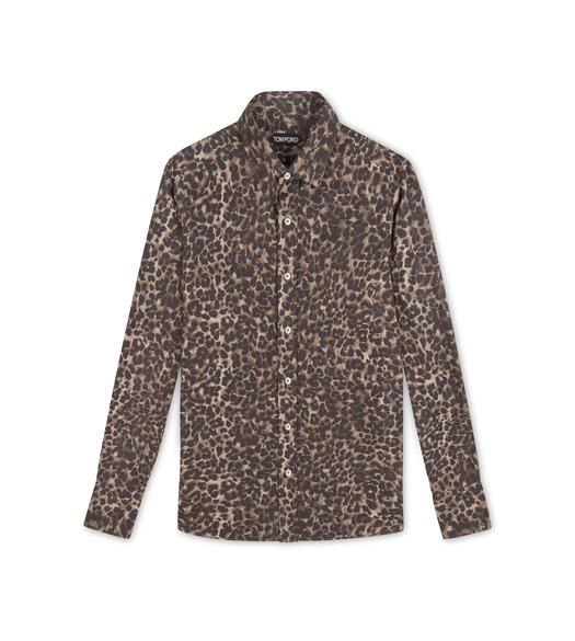 BROWN LEOPARD SLIM FIT SHIRT