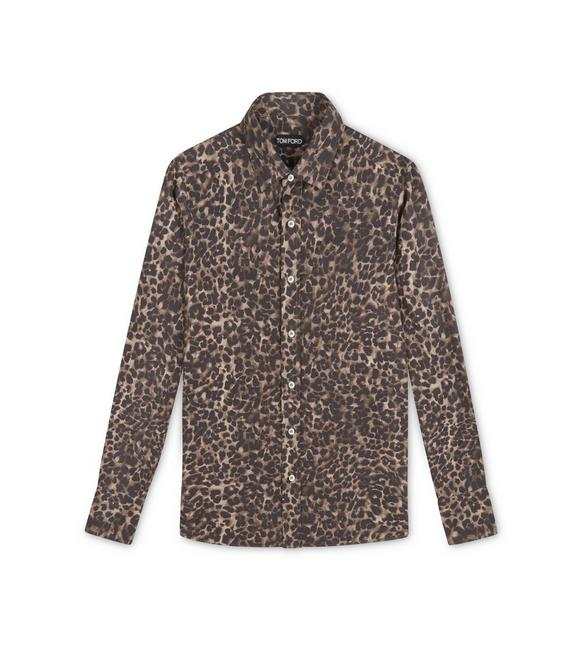 BROWN LEOPARD SLIM FIT SHIRT A fullsize
