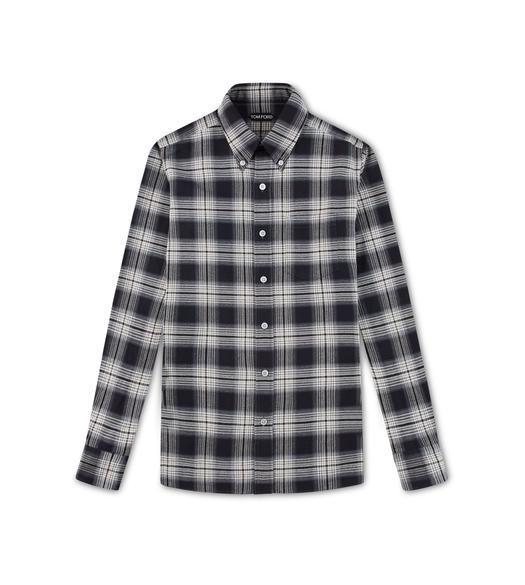 CHARCOAL CHECK OXFORD SLIM FIT SHIRT