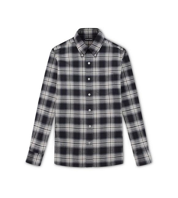 CHARCOAL CHECK OXFORD SLIM FIT SHIRT A fullsize